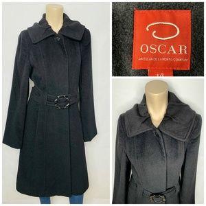 Oscar De La Renta Sz 14 Black Knee Length Coat